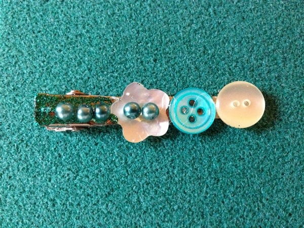Old Buttons and Bead Barrette