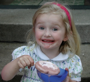 Zoë and her ice cream in 2005.